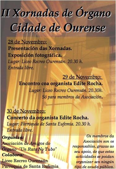 Cartaz das II Xornadas de Órgano Cidade de Ourense